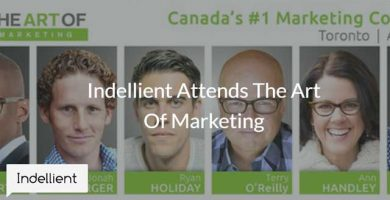 Photo of an advertisement of various panel speakers for a marketing conference
