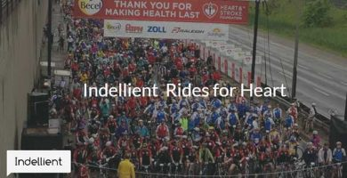 Ariel photo of a large number of participants on their bikes waiting to start the Ride for Heart charity ride