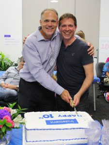 Adam and team celebrate Indellient's 10th anniversary.