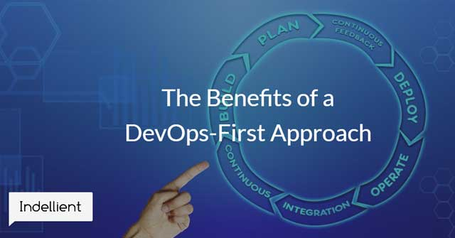 Image of a hand pointing to a circular workflow image depicting the flow of a DevOps project