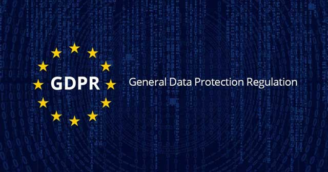 Image with the logo for General Data Protection Regulation against a dark navy background that has faintly coloured lines of code going from top to bottom vertically