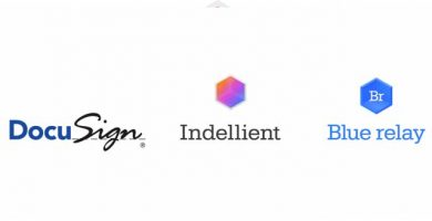 Image with the DocuSign, Indellient, and Blue Relay logos