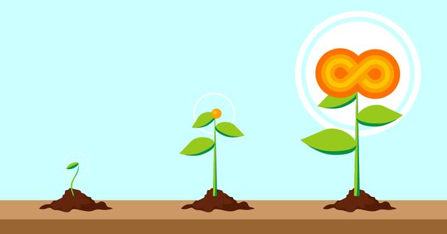 Devops portrayed as a flower growing