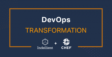 "Image with the words ""Devops Transformation"" and the logos for Indellient and Chef"