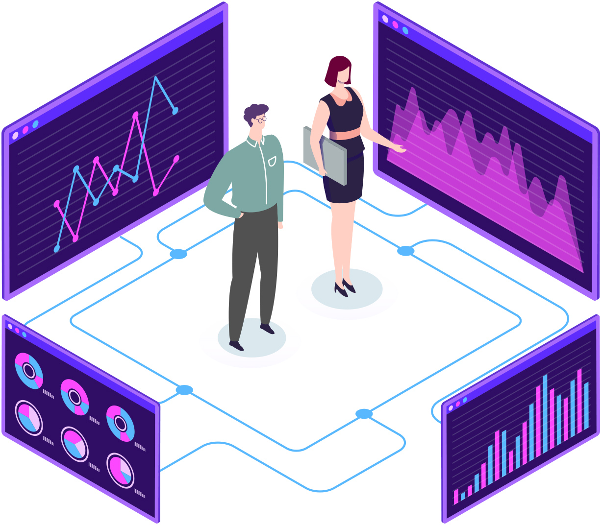 Designed image of a man and women in the center, surrounded by four computer screens showing different data in graphs