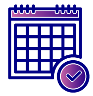 Icon of a calendar with a circle in the bottom right which contains a blue checkmark against a purple to blue gradient background