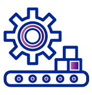 Icon of a large gear floating above a conveyor belt