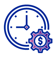 Icon of a clock with a purple gear on the bottom right with a dollar sign in the middle