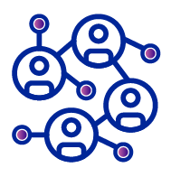 Icon of four circles with a circle and oval representing a persons head and body in the middle, all of with are connected by a blue line. There are an additional two lines protruding from the top left and bottom left circles which have a purple ball/circle at the end.