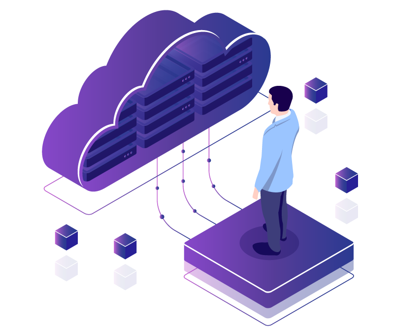 Desgined image of a man in a suit standing atop a purple square, which is connected to a purple cloud with computer servers within the cloud to depict cloud application development