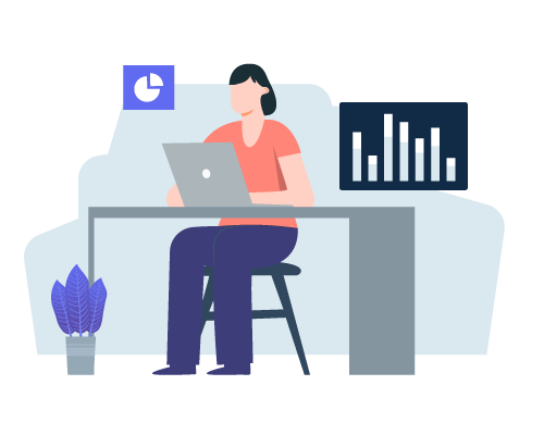 Designed image of a woman working on a laptop at a desk, with two different graphs on either side of her and a plant beside the desk leg, meant to depict a data engineer