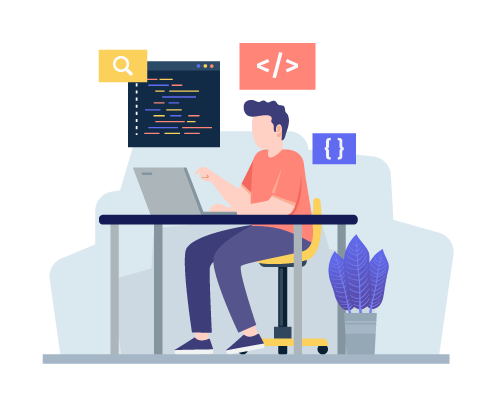 Designed image of a person sitting in a yellow chair at a desk working on a laptop, with a design of a code editor screen above him along with different html and css element symbols, meant to depict a developer