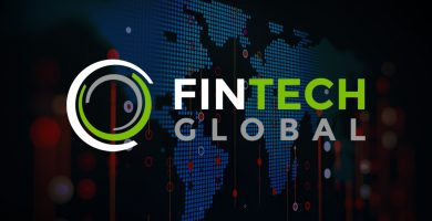 Image with a world map made up of light blue circles in the background, with the logo for Global Fintech over it