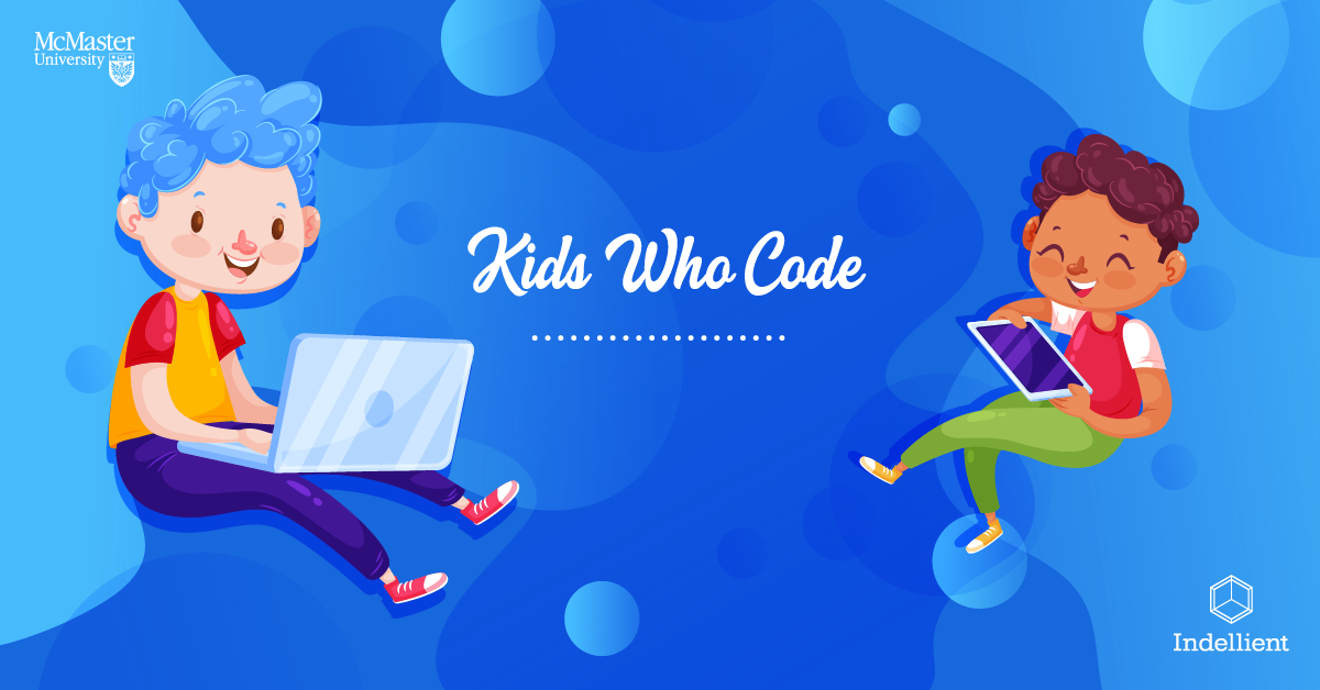 """Image of a male child using a laptop, and female child using a tablet, done in a cartoon style against a multi-hued blue background with the words """"Kids Who Code"""" in between the children"""