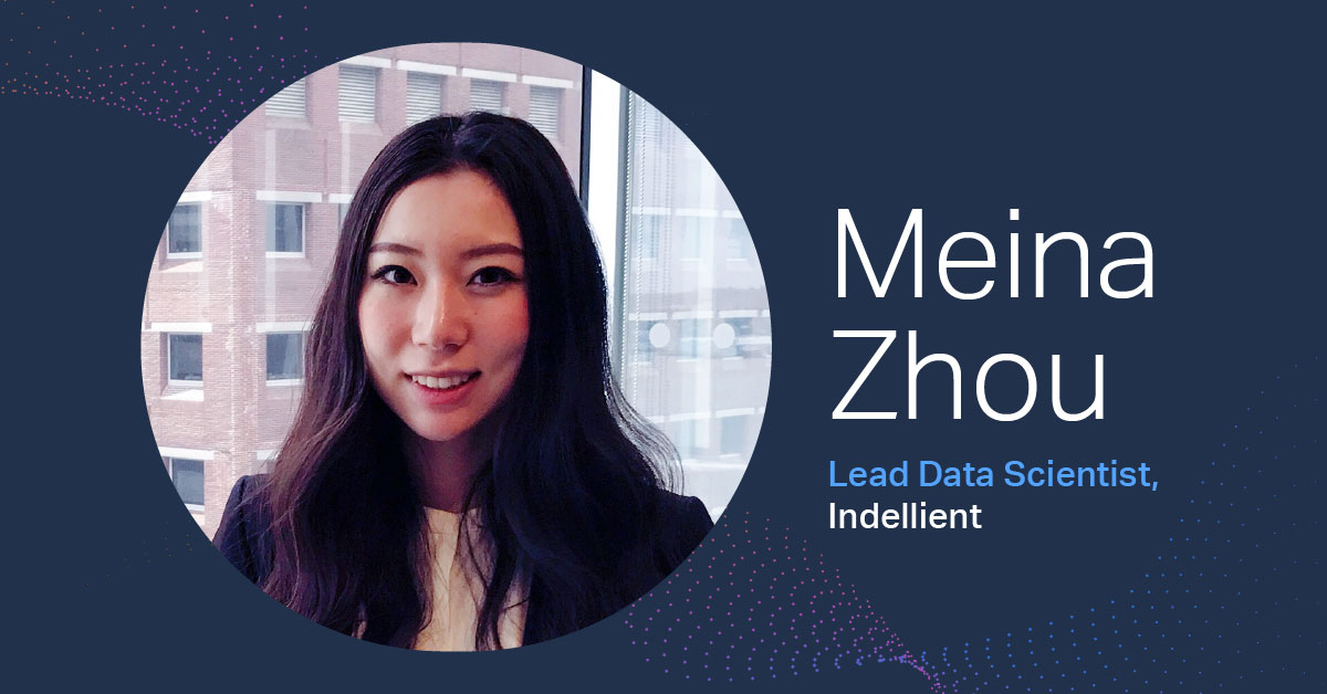"Image of a dark haired woman in a white shirt and black suit jacket within a circular frame against a dark navy background, with the words ""Meina Zhou Lead Data Scientist, Indellient) to the right of the frame"