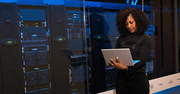 Data Science Trends fo 2020, woman working in server room