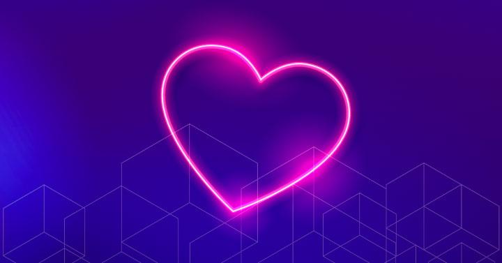 Neon heart on gradient background