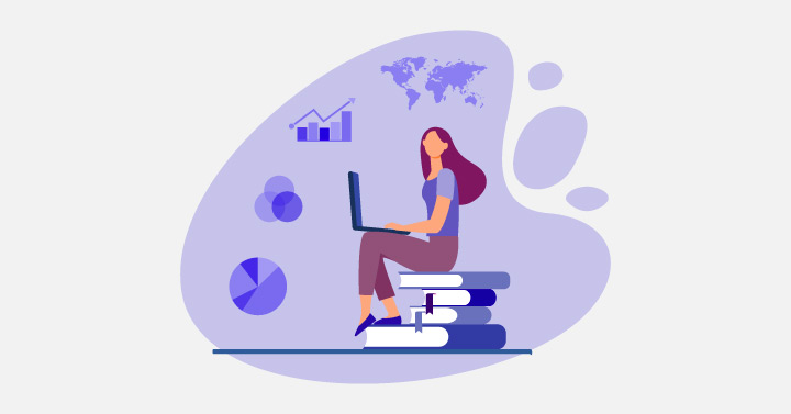 Graphics of a woman sitting on books imagine data visualizations