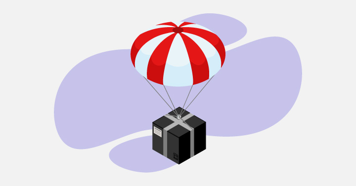 Image of a black box parachuting down in the air