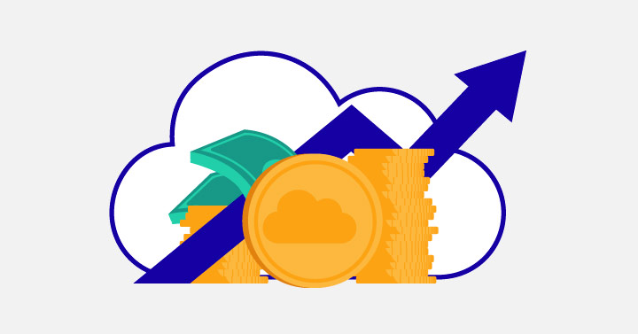 Cloud Adoption Leaps Ahead, A Cloud and a stack of money and a graph going up graphic