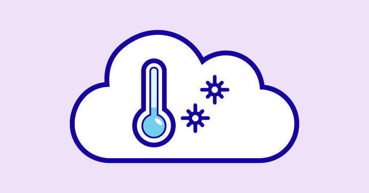 A Cloud with Snow inside and a cold thermometer